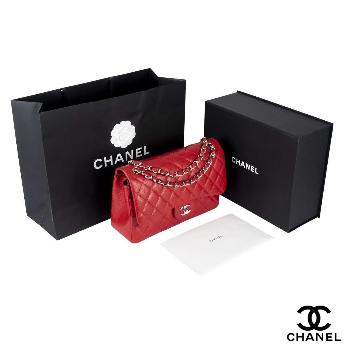 Chanel  Red Classic Double flap Jumbo Handbag